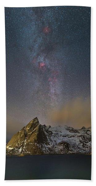 Milky Way In Lofoten Beach Towel