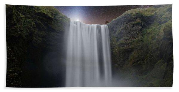 Milkyway Arch Over Raging Waterfall By Adam Asar 3aa Beach Towel