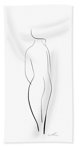 Minimal Line Drawing Of A Nude Woman Beach Towel