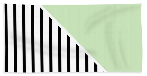 Mint And Black Geometric Beach Towel