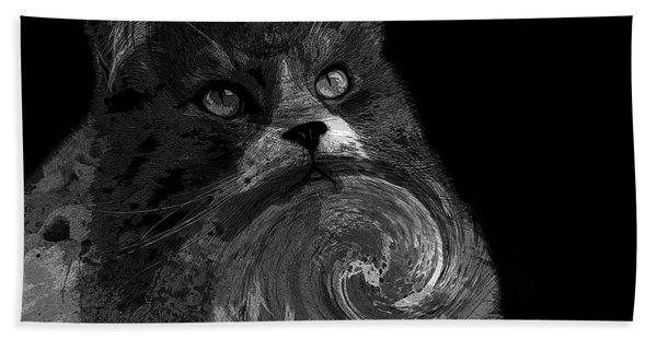 Miss Kitty Portrait Pop Art Bw Beach Towel