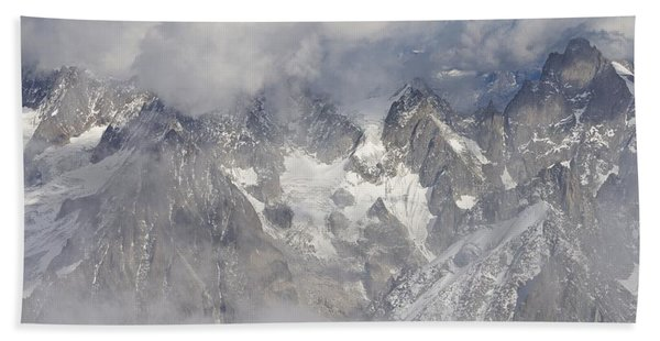 Mist And Clouds At Auiguille Du Midi Beach Sheet