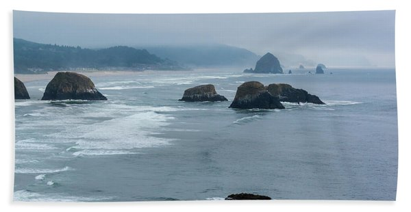 Misty Coastline Beach Towel