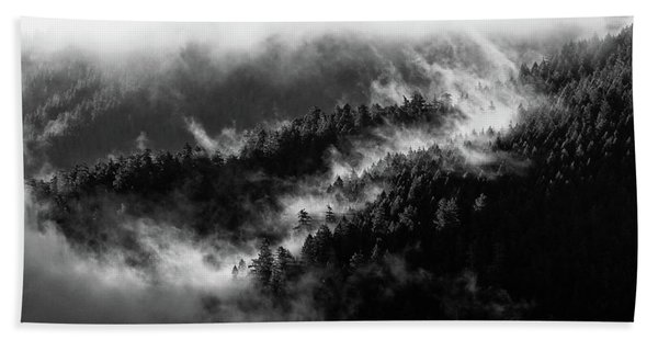 Beach Towel featuring the photograph Misty Mountain Pines by Michael Hope
