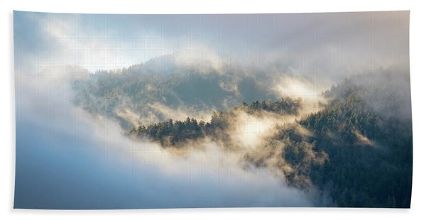 Beach Towel featuring the photograph Misty Ridge 2 by Michael Hope