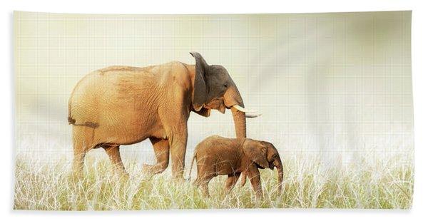 Mom And Baby Elephant Walking Through Tall Grass Beach Towel