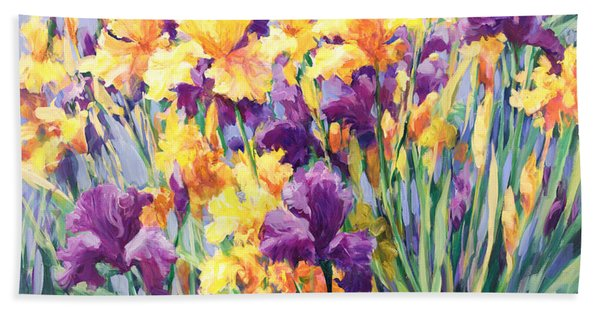 Monet's Iris Garden Beach Towel