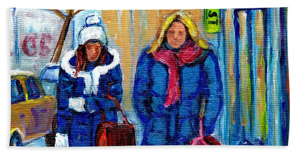 Montreal Winter Street Scene Two Girls Walking On St Catherine Street  Beach Towel