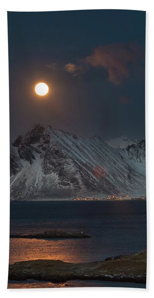 Moon And Mountains In Lofoten Beach Towel