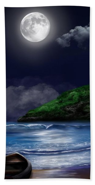 Beach Towel featuring the digital art Moon Over The Cove by Mark Taylor