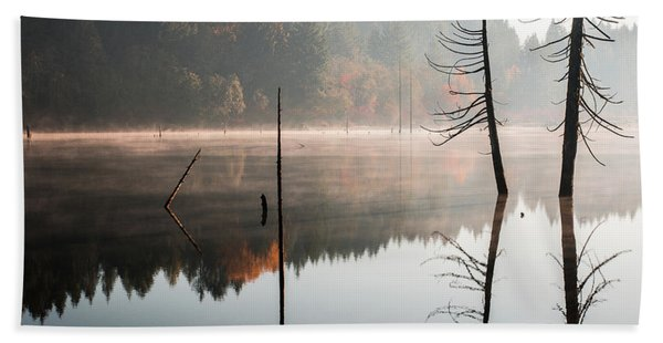 Morning Mist On A Quiet Lake Beach Towel