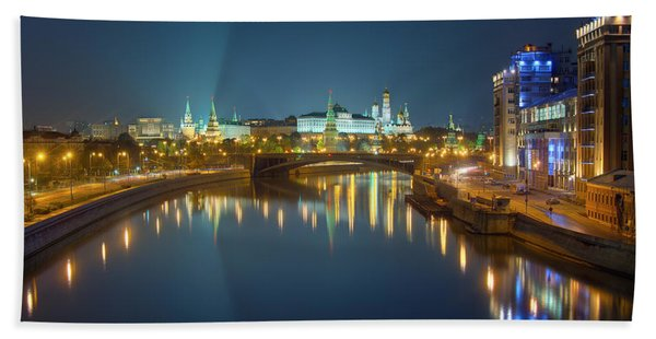 Moscow Kremlin At Night Beach Towel