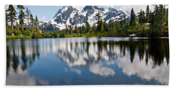 Mount Shuksan Reflected In Picture Lake Beach Sheet