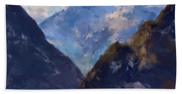 Beach Towel featuring the painting Mountain Majesty by Mark Taylor
