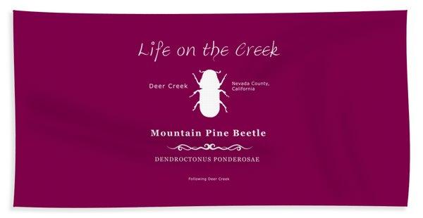 Mountain Pine Beetle White On Black Beach Towel