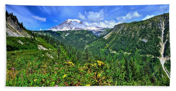 Mt. Rainier Through The Clouds  Beach Towel