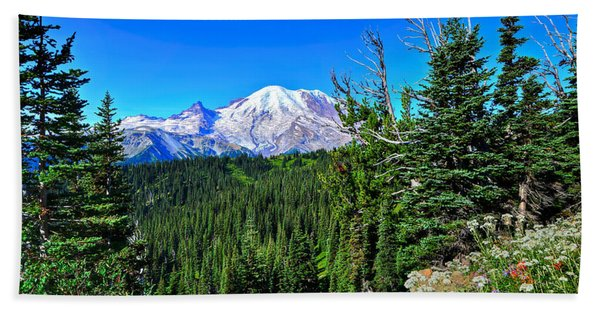 Mt. Rainier Wildflowers Beach Towel