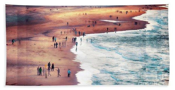 multiple exposure of people on North sea beach  Beach Towel