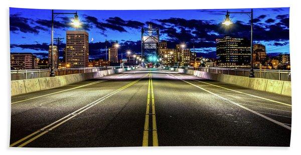 Murray Morgam Bridge During Blue Hour In Hdr Beach Sheet