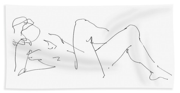 Naked-male-drawing-14 Beach Towel