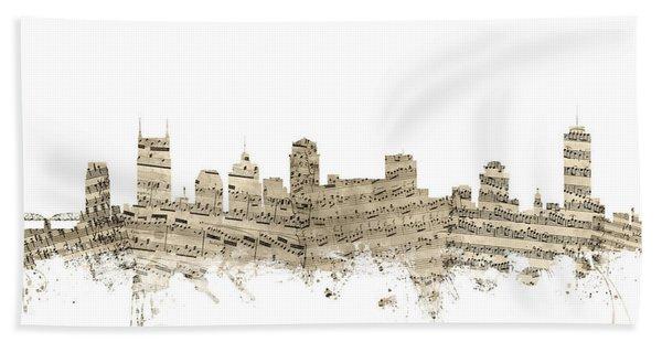 Nashville Tennessee Skyline Sheet Music Beach Towel