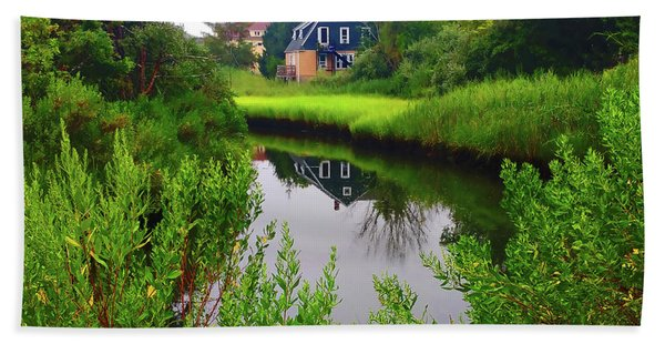 New England House And Stream Beach Towel