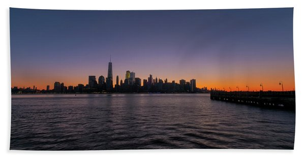 Beach Towel featuring the photograph New York City Sunrise by Tom Singleton