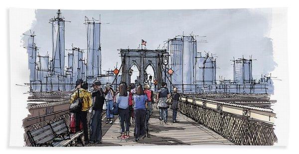 New York.the Bridge.handmade Drawing Beach Towel