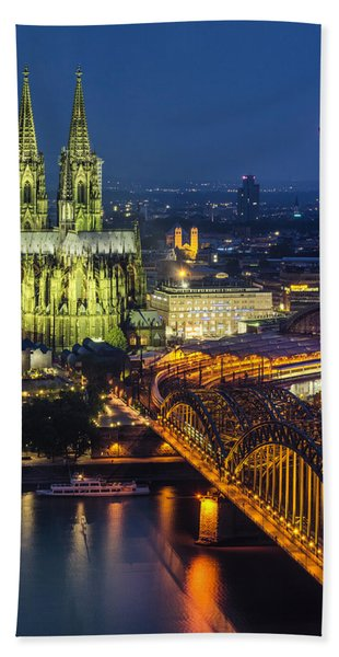 Night Falls Upon Cologne 1 Beach Towel
