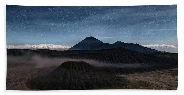 Night Over Mount Bromo - Java Beach Towel