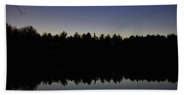 Night Reflects On The Pond Beach Towel
