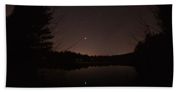 Night Sky Over The Pond Beach Sheet