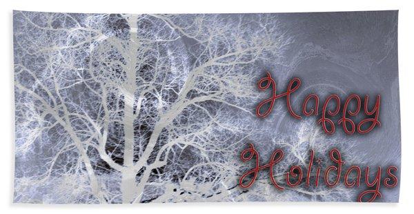 Night Vision I Happy Holidays Card 3 Beach Towel