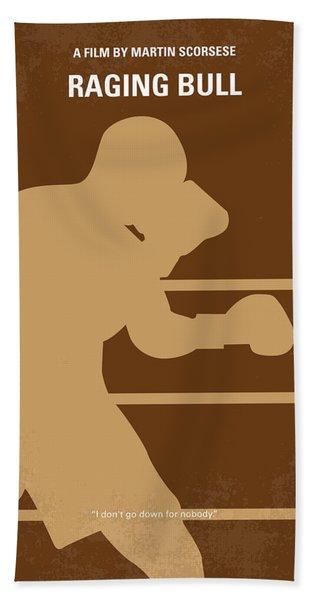 No174 My Raging Bull Minimal Movie Poster Beach Towel
