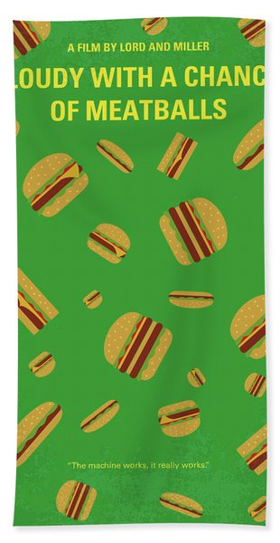 No778 My Cloudy With A Chance Of Meatballs Minimal Movie Poster Beach Towel