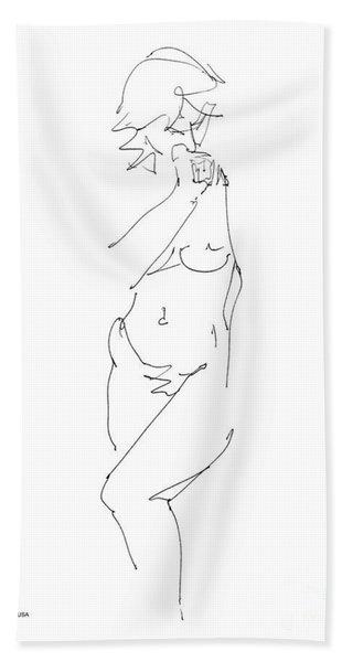 Nude Female Drawings 18 Beach Towel