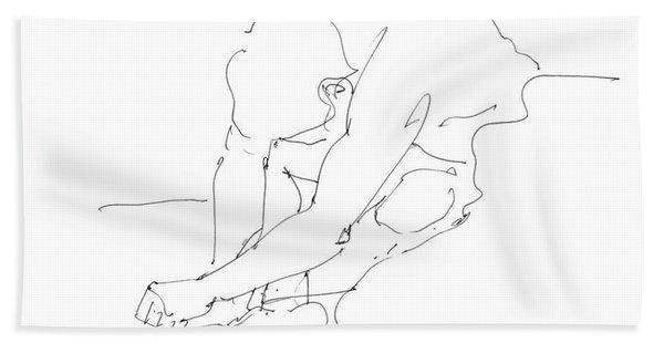 Nude Male Drawings 8 Beach Towel