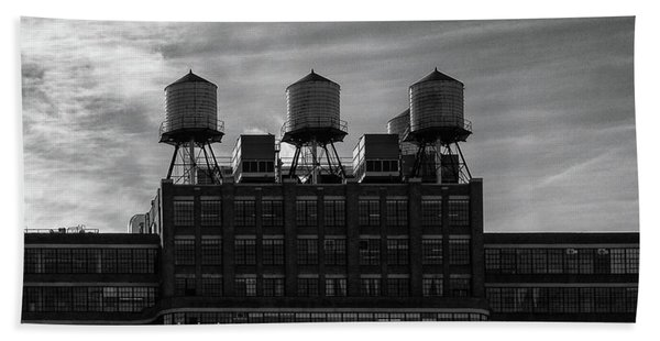 Beach Towel featuring the photograph New York Water Towers by Michael Hope