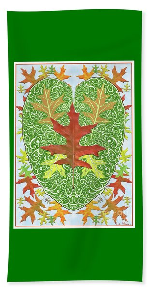Oak Leaf In A Heart Beach Towel
