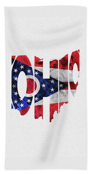 Ohio Typographic Map Flag Beach Towel
