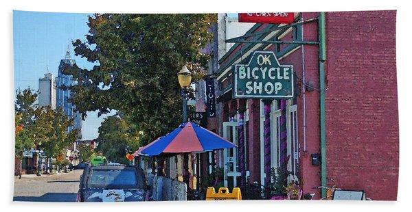 Ok Bicycle Yellow Sign Beach Towel