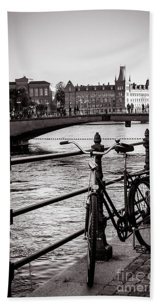 Old Bicycle In Central Stockholm Beach Towel