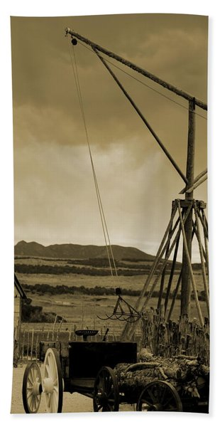 Old Crane And Shed Utah Countryside In Sepia Beach Towel