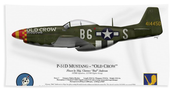Old Crow - P-51 D Mustang Beach Towel