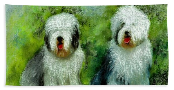Old English Sheepdog Beach Towel