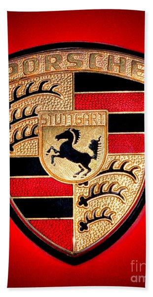 Old Porsche Badge Beach Towel