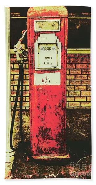 Old Roadhouse Gas Station Beach Towel