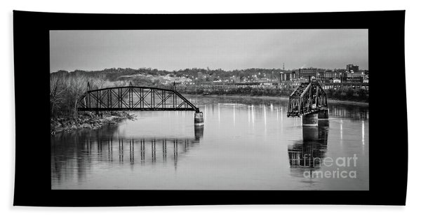 Old Swing Bridge Trestle In Bw Beach Towel