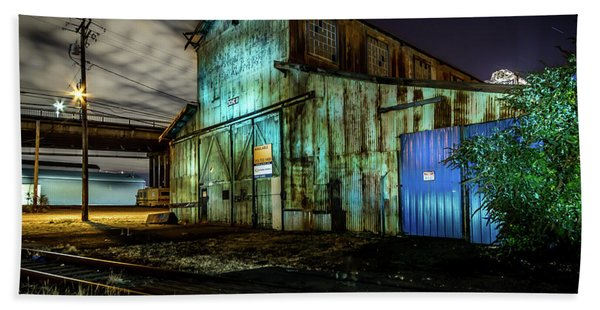 Old Tacoma Industrial Building Light Painted Beach Sheet