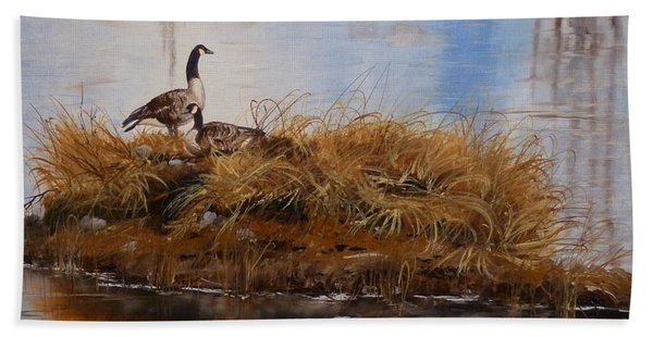 Beach Towel featuring the painting On The Nest by Judy Bradley